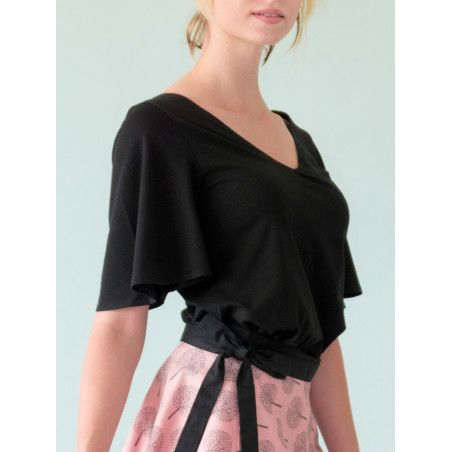 Organic black Maria wide flounced sleeves top