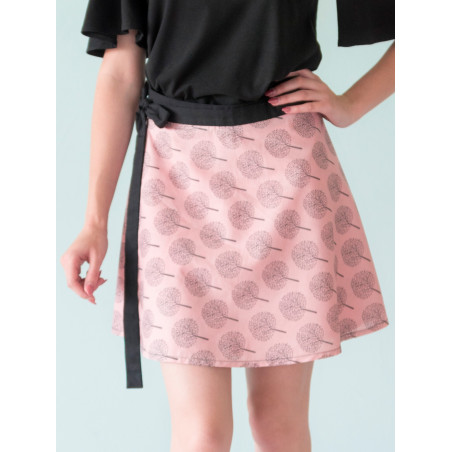 Poetry print wrap skirt Lorelei in pale pink bamboo