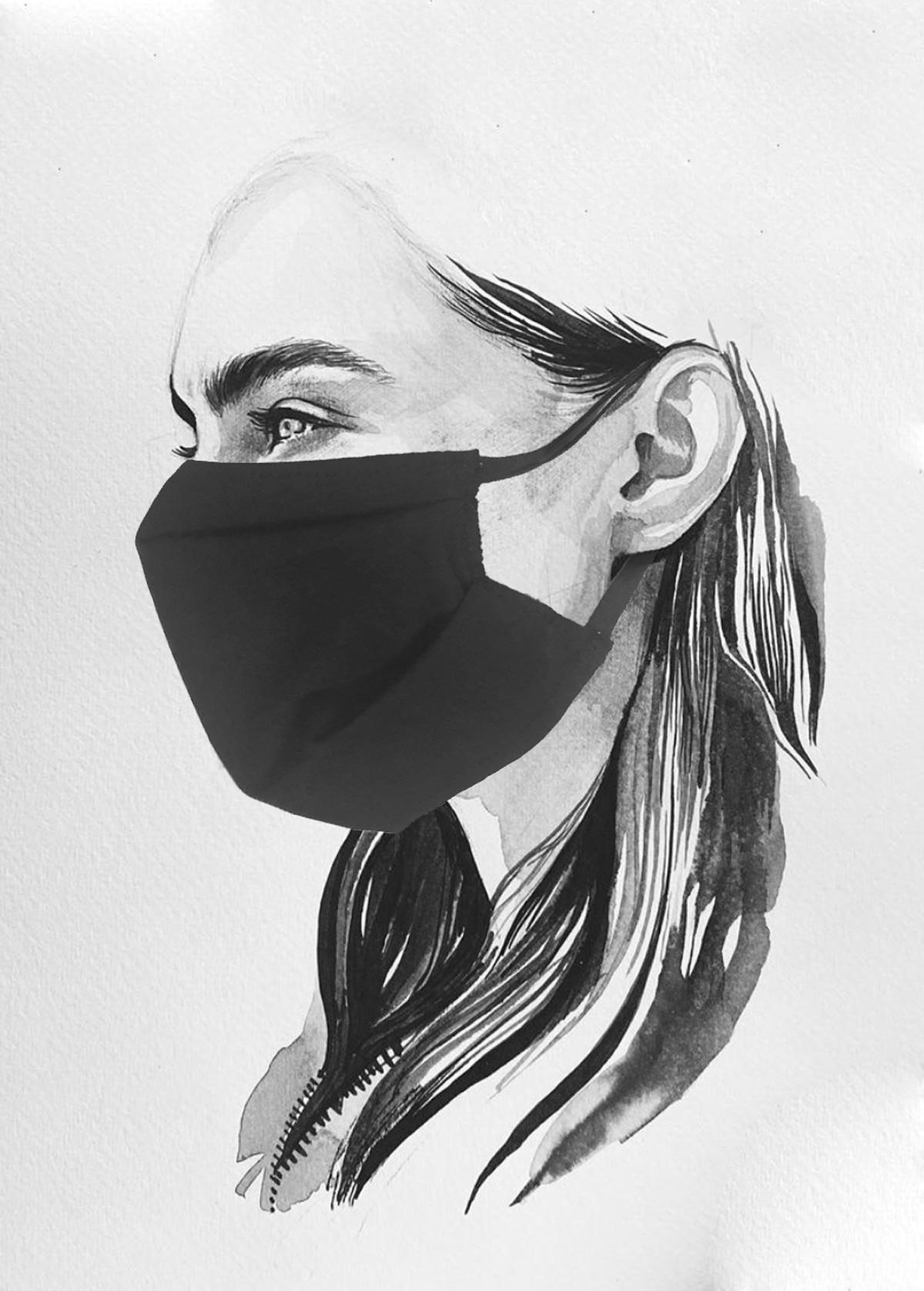 Masque en tissu à plis en coton bio noir UNS1 fabriqué en France à Toulouse